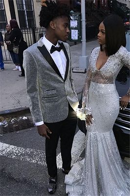 Glitter Silver Sequins Men Suits   Peaked Lapel Two Piece Prom Outfits_1