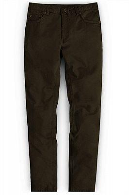 New Fashion Dark Brown Slim Straight Men Casual Pants_1