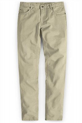 Khaki Men Trousers Casual Thin Elastic Waist Business Office Pants_1