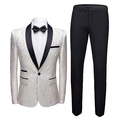 White Jacquard One Button Wedding Tuexdos | Black Shawl Lapel Men Suits (Jacket Pants)_3