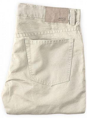 Cream High Quality Men Suit Pants with Zipper Fly_2