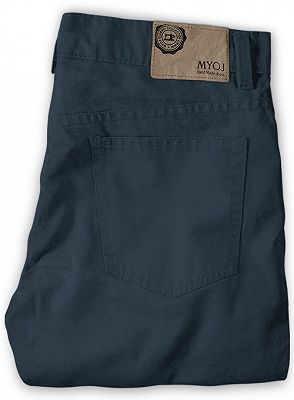 Latest Design Dark Blue Zipper Fly Casual Pants Mens Designer Trousers_2