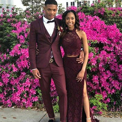 Custom Made Burgundy Shawl Lapel Men Prom Outfits_2