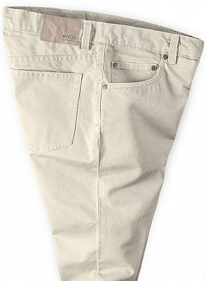 Cream High Quality Men Suit Pants with Zipper Fly_3