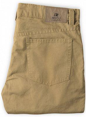 Solid Color Fashion Men Pants Casual Cotton Long Pants_2