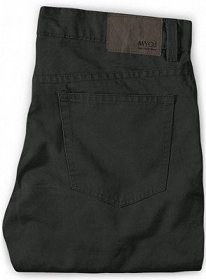 Dark Gray Slim Fit Casual Solid Business Work Mens Pants_2