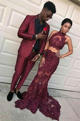 Handsome Burgundy Slim Fit Prom Party Suits for Men_1
