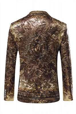 Gold Jacquard Slim Fit Peaked Lapel Mens Blazer_3
