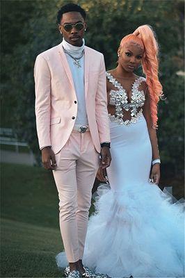 Handsome Pink Slim Fit Prom Men Suit for Boy_2