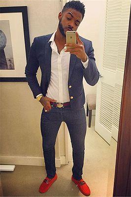 Navy Blue Peaked Lapel Prom Suit for Men | Two Buttons Men Suit Online_1