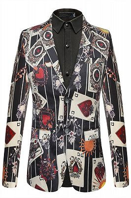 Fashion Playing Card Printed Slim Fit Boy Blazer Online_1