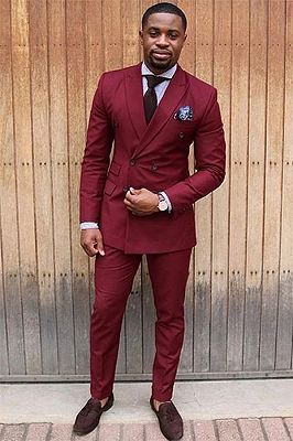 Fashion Red Double Breasted Peaked Lapel Mens Suits Jacket
