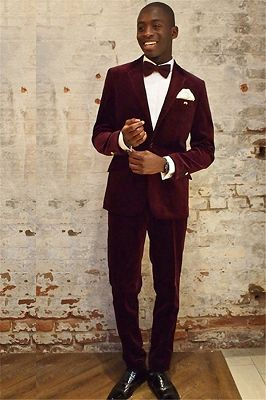 Wine Red Velvet Notched Lapel Stylish Mens Suits Online