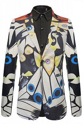 Angel Stylish Pattern Slim Fit One Button Notch Lapel Mens Blazer_1