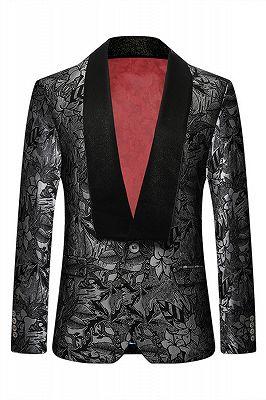 Black Jacquard One Button Shawl Lapel Blazer Jacket_1