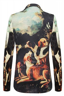 Lovely Dog Printed Pleuche Best Fitted Blazer Jacket for Men In Stock_2