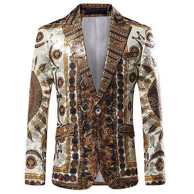 Fashion Bespoke Gold Pattern Slim Fit Men's Blazer_2