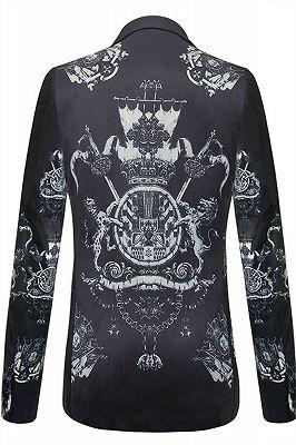 Brayan Black Animal Printed Pleuche Fitted Blazer for Boy_2