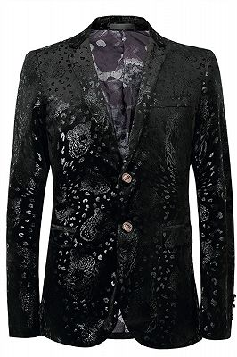 Justin Black Printed Stylish Slim Fit Blazer Jacket_1