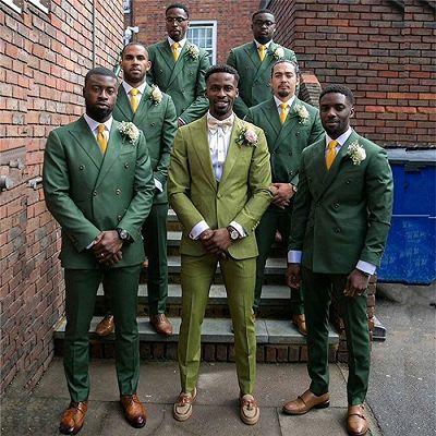 Dark Green Double Breasted Slim Fit Peaked Lapel Wedding Groomsmen Suit Online_2