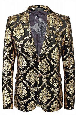 Grady Gold Jacquard Slim Fit Notch Lapel Mens Blazer_1
