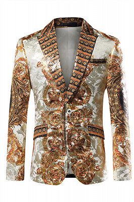 Silver Peaked Lapel Slim Fit Mens Blazer Jacket with Gold Pattern_1