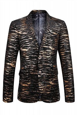 Hot Sale Leopard Print Slim Fit Notched Lapel Men Blazer_1