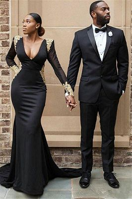 Gavin Black Slim Fit Two Piece Mens Suit for Prom_1