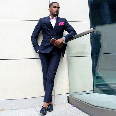 Dark Blue Double Breasted Peaked Lapel Slim Fit Formal Mens Suit_2