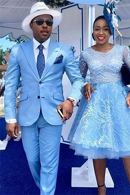 Nathan Blue Peaked Lapel Custom Made Two-Piece Mens Prom Suits