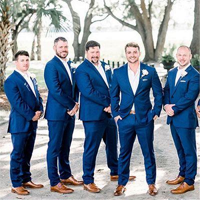 Austin Dark Blue Notched Lapel Men Suit for Groomsmen_2