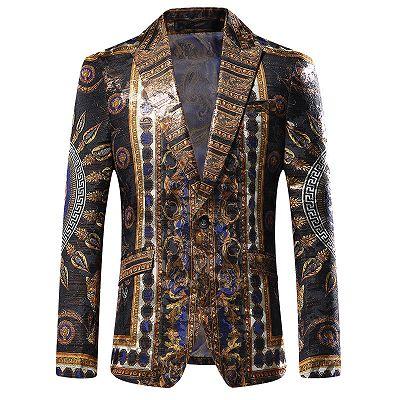 Stylish Black Peaked Lapel Jacquard Blazer for Men_2