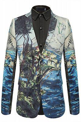 Soft Pleuche Slim Fit Pattern Pinted Fashion Blazer for Boy_1
