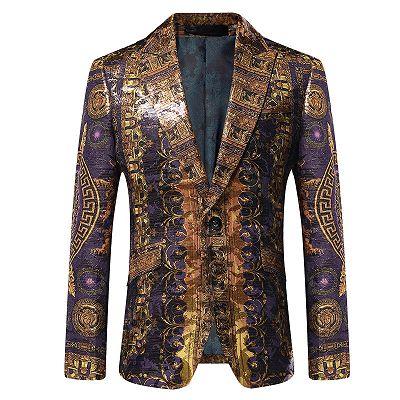 Stylish Peaked Lapel Gold Pattern Blazer Jacket_2