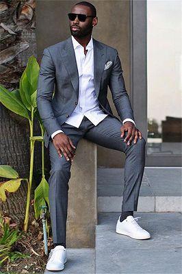 Caleb Dark Gray Peaked Lapel Slim Fit Stylish Formal Business Men Suit_1