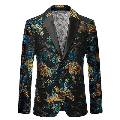 Green Floral Printed Slim Fit Mens Blazer with Black Lapel_4