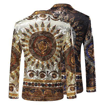 Fashion Bespoke Gold Pattern Slim Fit Men's Blazer_3