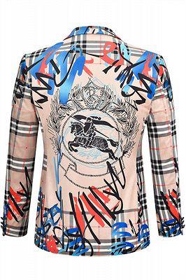 Nude Pink Velvet Letter Printed Stylish Casual Blazer Jacket for Men_2
