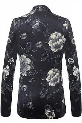 Isaiah Newest Black Floral Mens Blazer_2