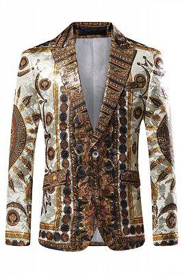 Fashion Bespoke Gold Pattern Slim Fit Men's Blazer_1