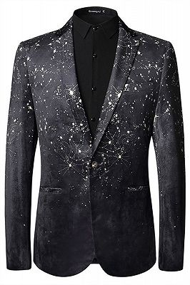 Dreaming Star Printed Black Soft Velvet Best Fitted Blazer for Men_1