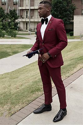 Tyler Formal Burgundy Best Slim Two Pieces Mens Suit Online_1