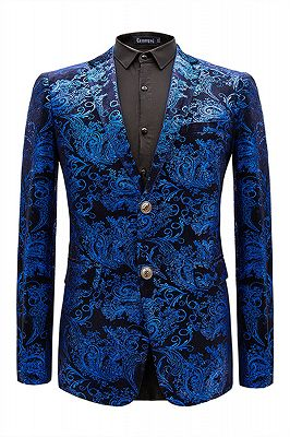 Cruz Royal Blue Notched Lapel Slim Fit Mens Blazer Jacket_1