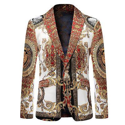 Red Peaked Lapel Floral Fashion Blazer Jacket for Boy_2
