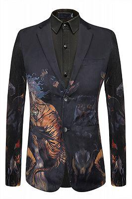 Luke Black Tiger Printed Cute Fashion Mens Blazer for Boy_1