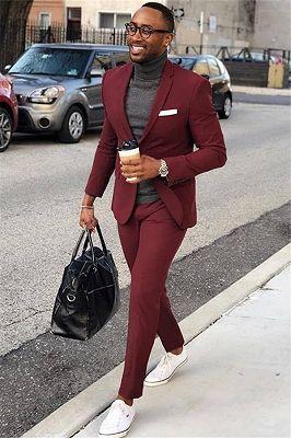 Burgundy One Button Men's Suit   Slim Fit Formal Business Suit_1