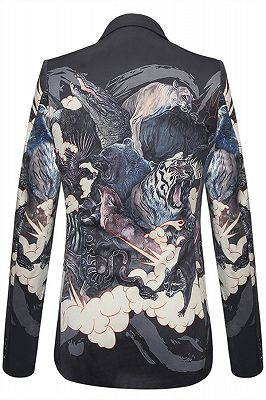 Isaac Black Soft Animal Printed Patterned Blazer Jacket for Men_2