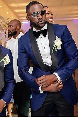 Navy Blue Three Piece Wedding Groomsmen Suit with Black Shawl Lapel_1