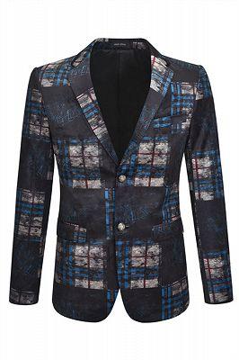 Chase black plaid Velvet Best Fitted Mens Blazer Jacket_1