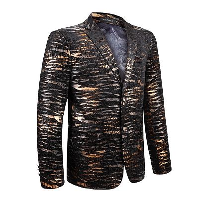 Hot Sale Leopard Print Slim Fit Notched Lapel Men Blazer_3